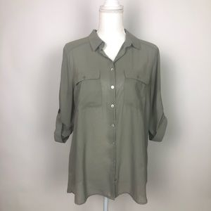 H&M dark Green long sleeve blouse